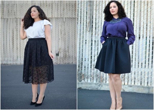 Mix chân váy dài và áo
